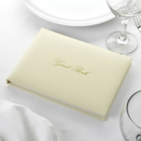 Ivory Contemporary Guest Book with Gold Writing