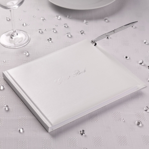 White Contemporary Guest Book with Silver Writing and Pen