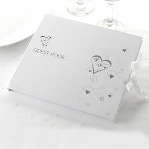 Contemporary Heart White and Silver Guest Books