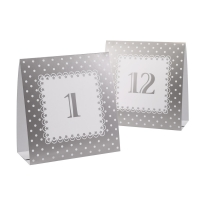 White and Silver Chic Boutique Table Number Tent Cards