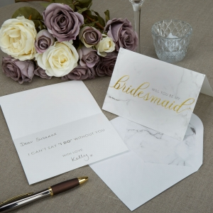 Scripted Marble Will you be my Bridesmaid Card with Envelope