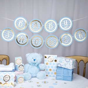 Blue Pattern Works Baby Shower Bunting