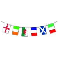 Six Nations Multi Flag Rugby Plastic Bunting