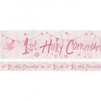 First Holy Communion Pink Holographic Foil Banner