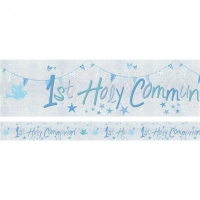First Holy Communion Blue Holographic Foil Banner