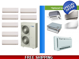 Daikin 7 Zone 48K Mini Split Heat Pump AC Ductless Cassette Ducted
