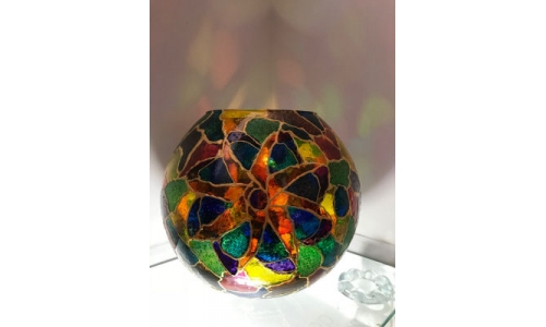 large Stained Glass Effect fish Bowl