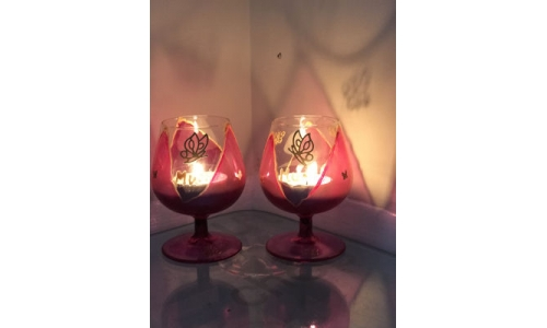 Small Pink Brandy Glasses