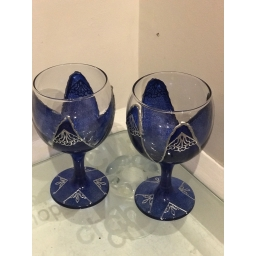 Pair of Blue and silver Glass