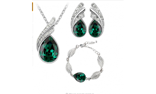 Jewelry set Austrian Crystal fashion leaf tear feather Water drop pendant necklace earrings jewelry sets