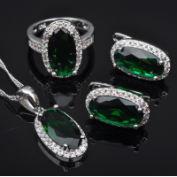 Elegant Green Stone Zircon Women'..