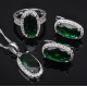 Elegant Green Stone Zircon Women's 925 Sterling Silver Jewelry Sets Earrings/Pendant/Necklace/Ring