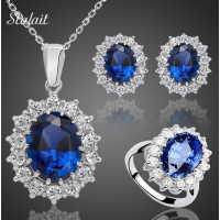 Fashion Blue Crystal Stone Weddin..