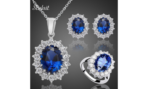 Fashion Blue Crystal Stone Wedding Jewelry Sets For Brides Silver Color Necklace Set For Women African Jewelry