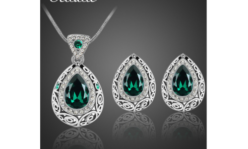 Bridal Wedding Jewelry Set Classic Indian Antique Silver Color Water Drop Crystal Rhinestone Earrings Necklaces jewelery Set