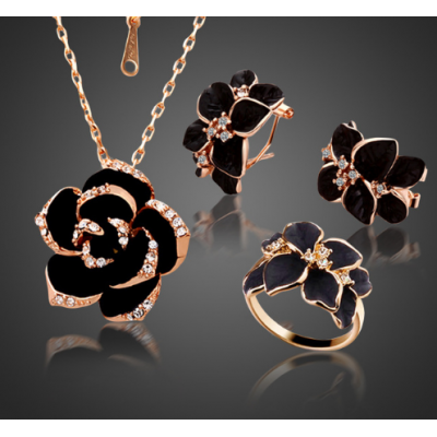 Fashion Rose Flower Enamel Jewelry Set Gold Color Black Painting Jewelry Sets for women