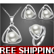 2018 New Fashion Brand Bridal Jewelry Set Silver Color Simulated Pearl Pendant Necklace Earrings Rings Jewelry Sets