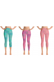 Multicolored Checkered-Type Turquoise, Pink and Peach Leggingz Available in Long and Capri Length