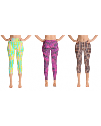 Plaid-like Green, Pink, and Brown Leggingz Available in Long and Capri length