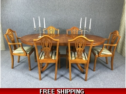 Yew Dining Table 6 Chairs Extendable Antique Regency Style Shield Back