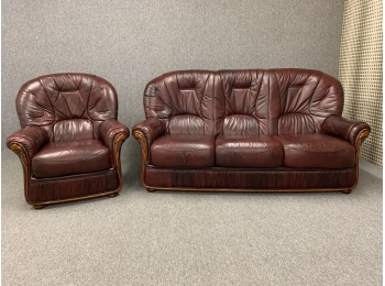Red Leather 2 Piece Suite Italian Style Oxblood 3 Seater Sofa & Armchair  High Wing Back