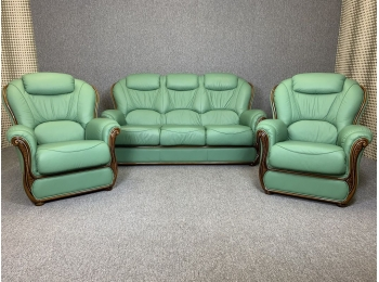 Green Leather 3 Piece Suite Italian Style 3 Seater Sofa & 2 Chairs ...