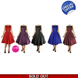 Satin Belted Swing Dres..