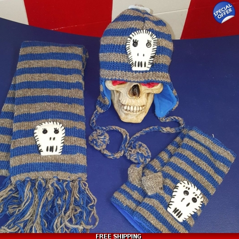 Striped Skull Woolen Set
