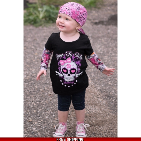 Born to Ride Girls Tattoo Sleeve Tee
