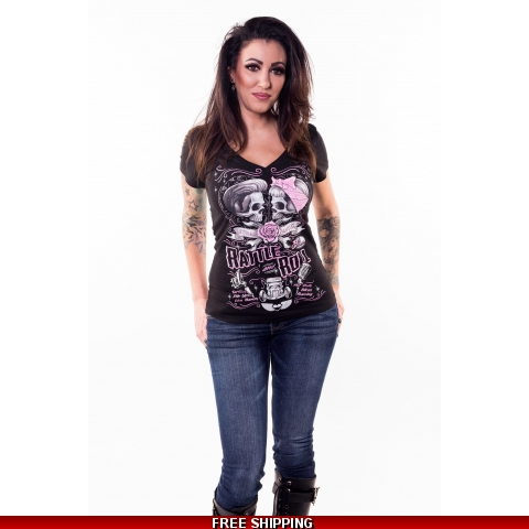 Rattle & Roll V Neck Tee From Lethal Angel