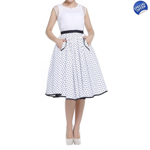 Polka Dot Circle Skirt with Contrast Trim