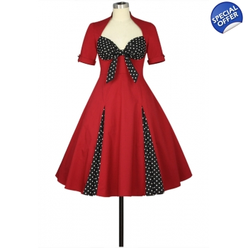Polka Dot Accent Dress with Sleeves