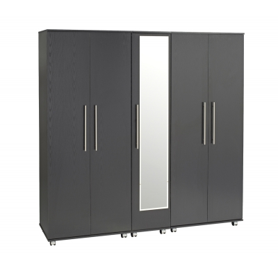 Bobby 5 Door Wardrobe + 2 Drawers + Mirror