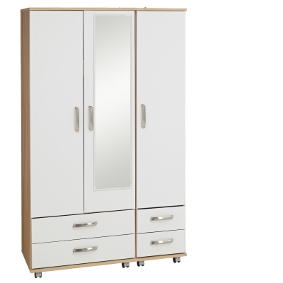 Regal 3 Door Wardrobe + 4 Drawers + Mirror