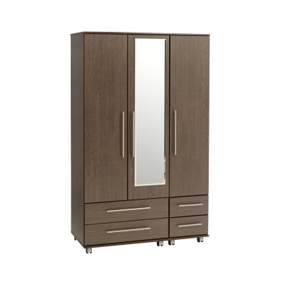 New York 3 Door Wardrobe + 4 Drawers + Mirror