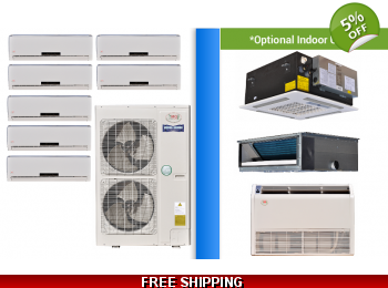 YMGI Multi 7 Zone 47K Mini Split Heat Pump AC Ductless Cassette Ducted