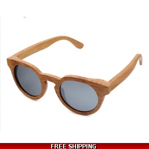 Round Light Bamboo Sunglasses