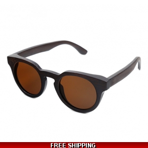 Round Dark Bamboo Sunglasses