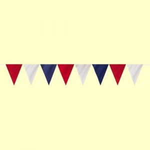 Blue, Red & White Triangular Bunting 7m