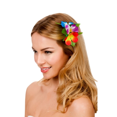 Hawaiian Flower Hairclip - Multi Coloured title=