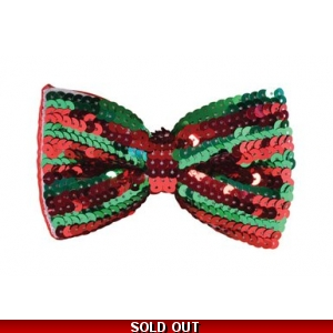 Sequin Bow Tie - Red & Green
