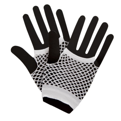 Fishnet Gloves - White title=
