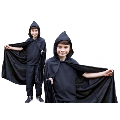 Children's Hooded Cape - Black title=