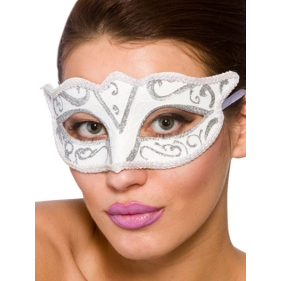 Verona Eye Mask - White With Silver Glitter title=