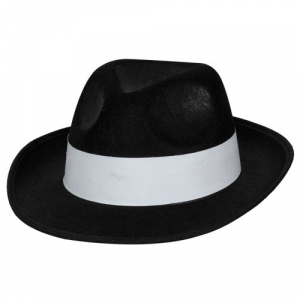 Felt Fedora Gangster Hat - Black