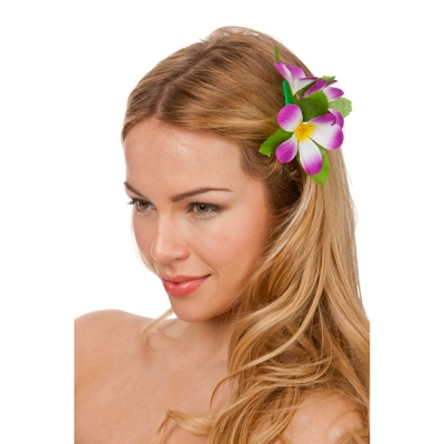 Hawaiian Flower Hairclip - Purple title=