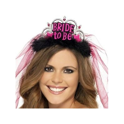Bride to Be Tiara - Black/Pink title=