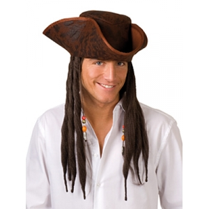 Distressed Pirate Hat with Hair - Brown