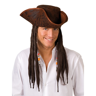 Distressed Pirate Hat with Hair - Brown title=