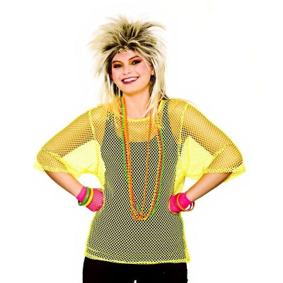 80's Mesh Top - Neon Yellow title=